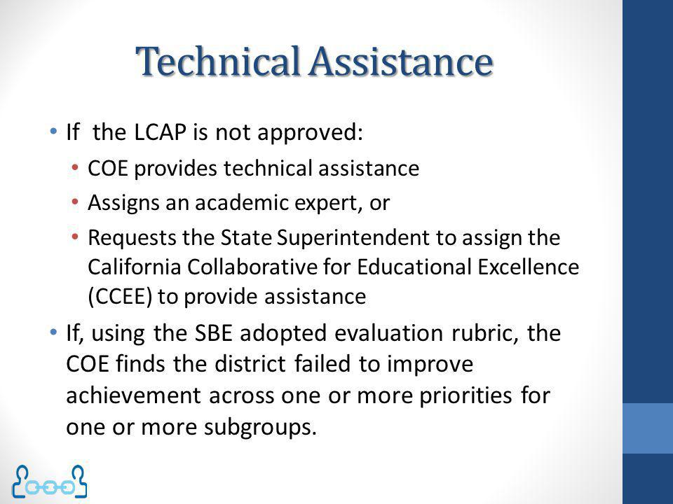 Technical Assistance If the LCAP is not approved: COE provides technical assistance Assigns an academic expert, or Requests the State Superintendent t