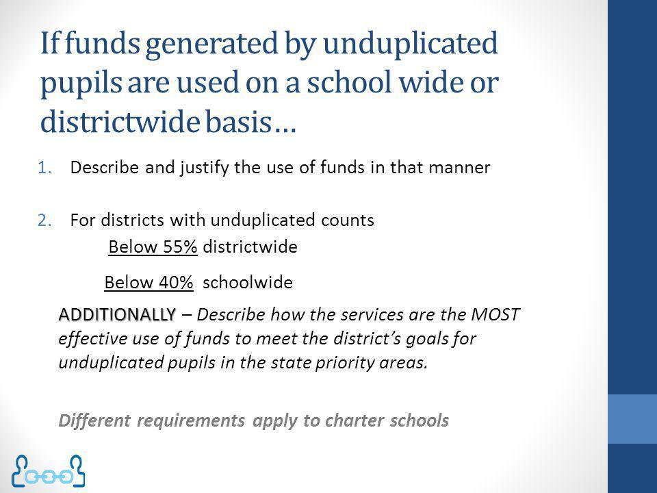 If funds generated by unduplicated pupils are used on a school wide or districtwide basis… 1.Describe and justify the use of funds in that manner 2.Fo
