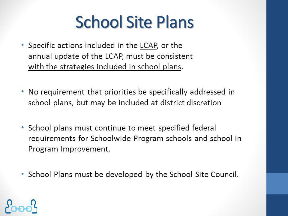School Site Plans Specific actions included in the LCAP, or the annual update of the LCAP, must be consistent with the strategies included in school p