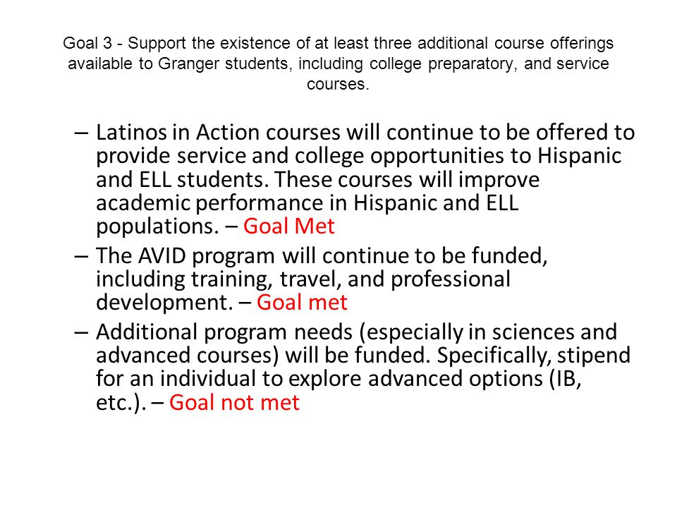 Goal 3 - Support the existence of at least three additional course offerings available to Granger students, including college preparatory, and service courses.