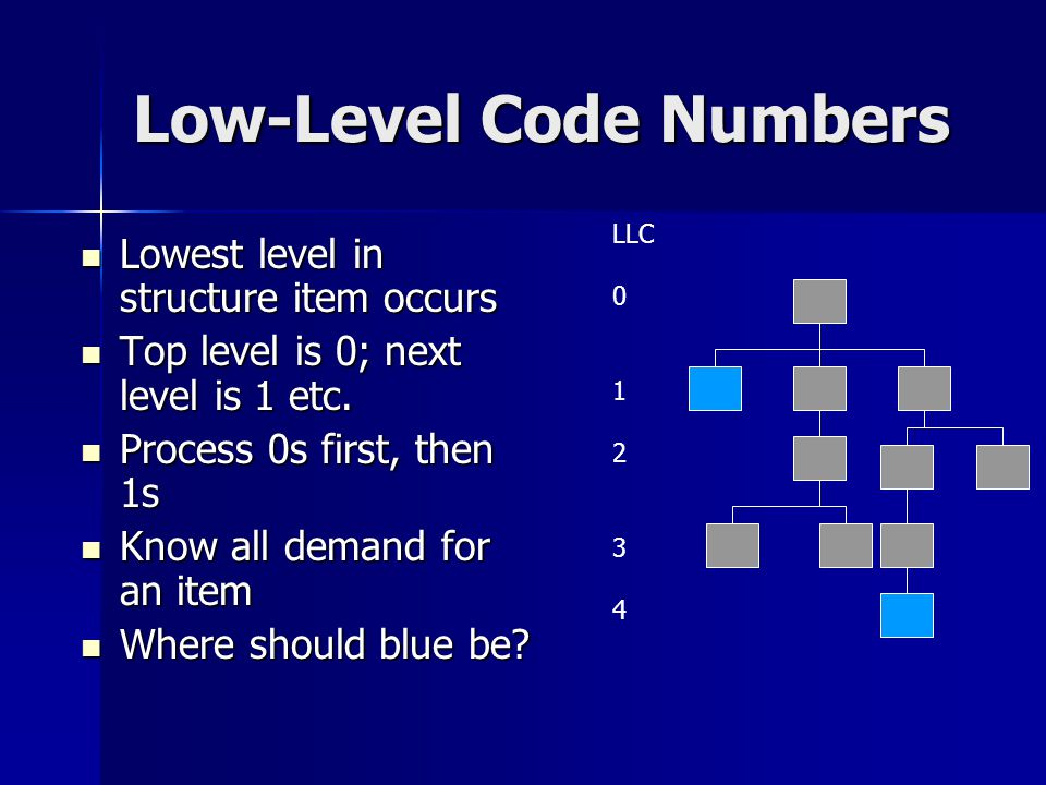 Low-Level Code Numbers Lowest level in structure item occurs Lowest level in structure item occurs Top level is 0; next level is 1 etc. Top level is 0