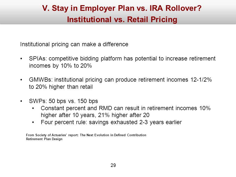 V. Stay in Employer Plan vs. IRA Rollover. Institutional vs.
