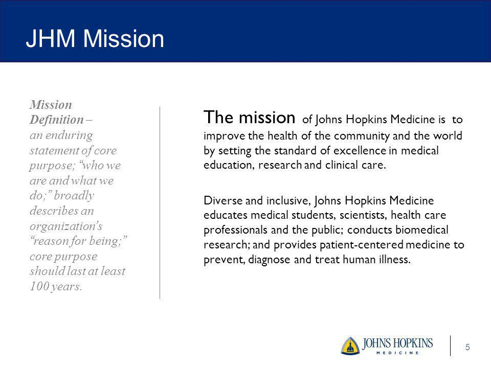 The mission of Johns Hopkins Medicine is to improve the health of the community and the world by setting the standard of excellence in medical education, research and clinical care.