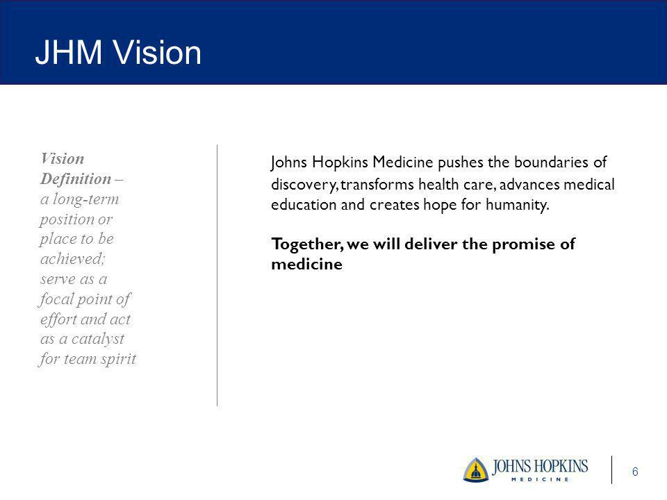 6 Johns Hopkins Medicine pushes the boundaries of discovery, transforms health care, advances medical education and creates hope for humanity.