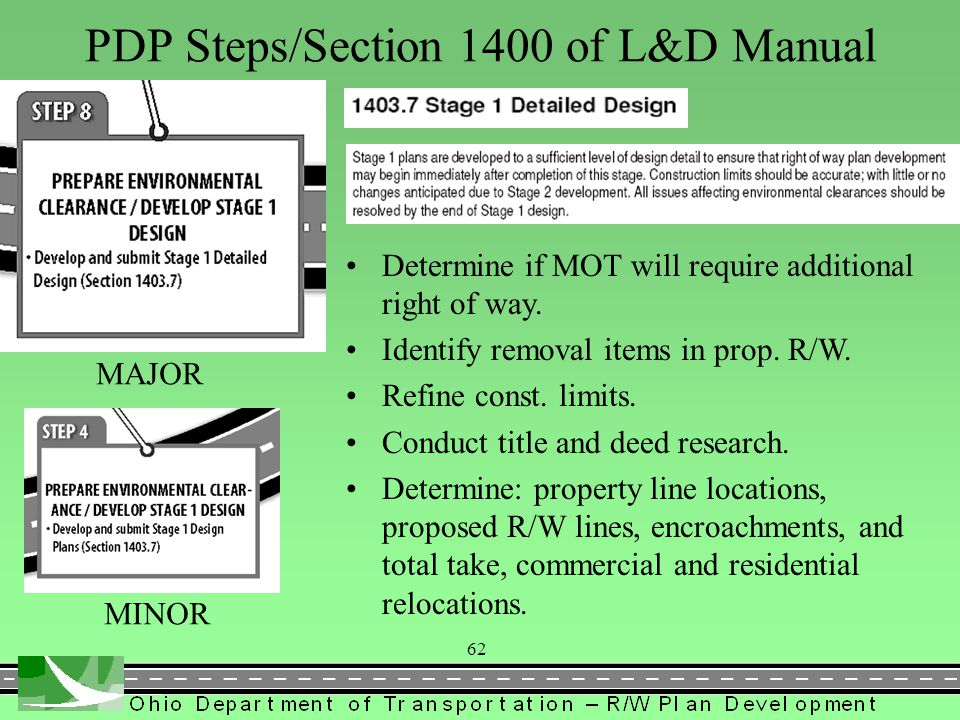 PDP Steps/Section 1400 of L&D Manual Finalize construction limits. Determine proposed R/W lines, easement or deed, channel, temps, etc. Contact proper