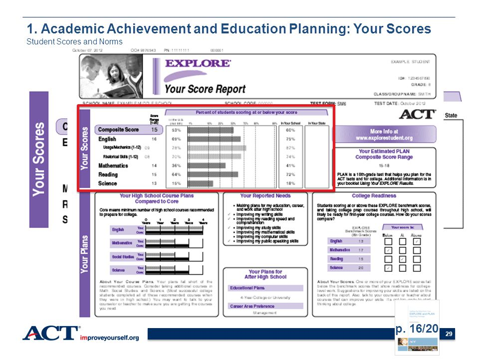 29 1. Academic Achievement and Education Planning: Your Scores Student Scores and Norms p. 16/20