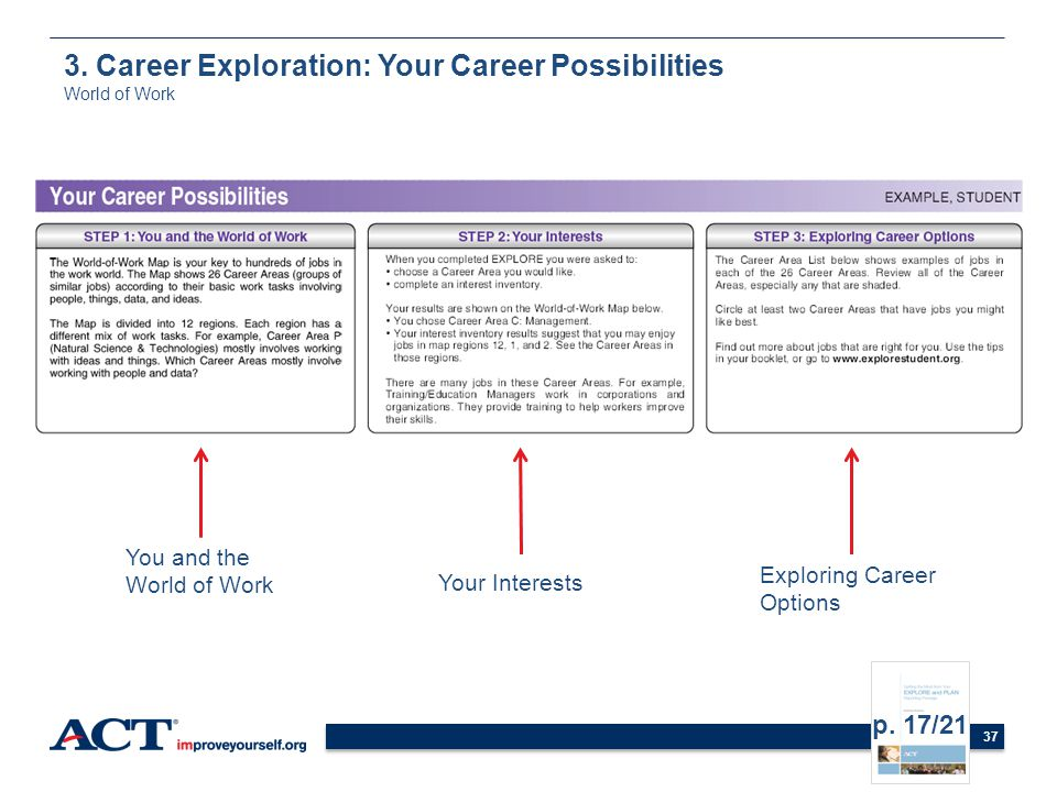 37 You and the World of Work Your Interests Exploring Career Options 3. Career Exploration: Your Career Possibilities World of Work p. 17/21