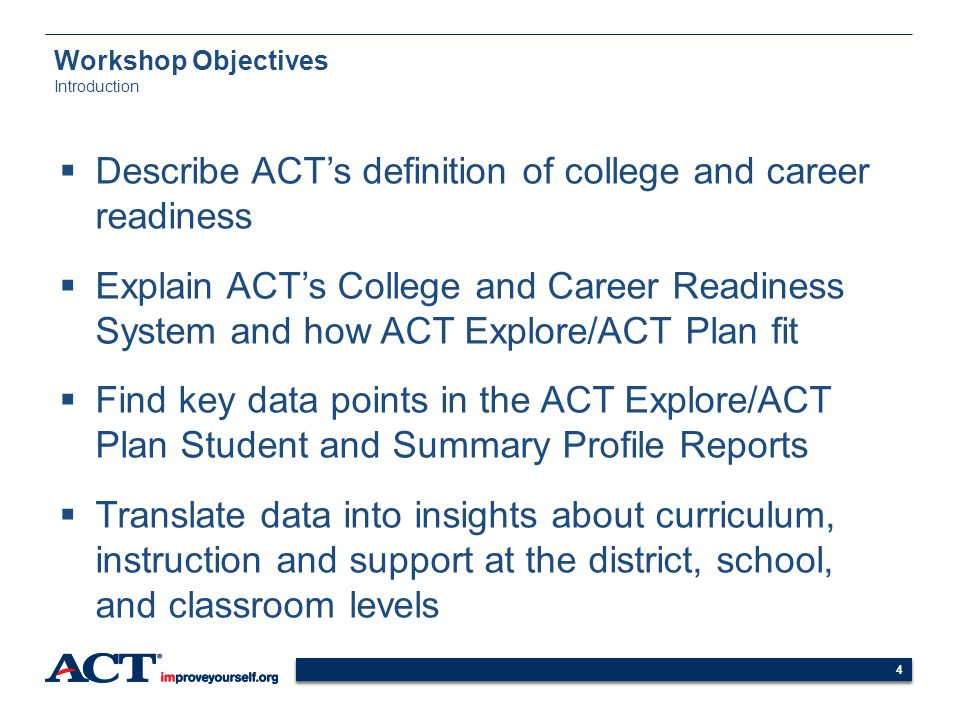 44 Workshop Objectives Introduction Describe ACTs definition of college and career readiness Explain ACTs College and Career Readiness System and how
