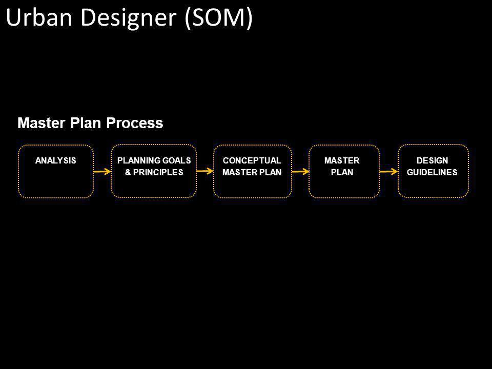 Master Plan Process PLANNING GOALS & PRINCIPLES ANALYSISCONCEPTUAL MASTER PLAN MASTER PLAN DESIGN GUIDELINES Urban Designer (SOM)