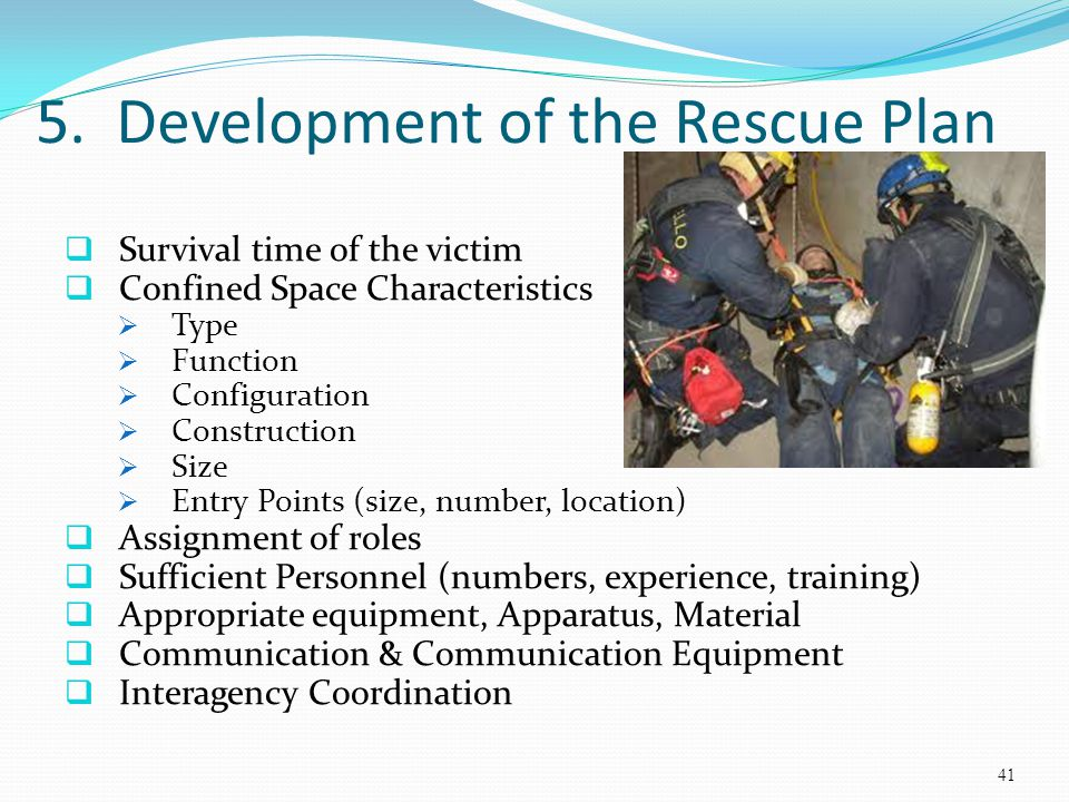 5. Development of the Rescue Plan Survival time of the victim Confined Space Characteristics Type Function Configuration Construction Size Entry Point