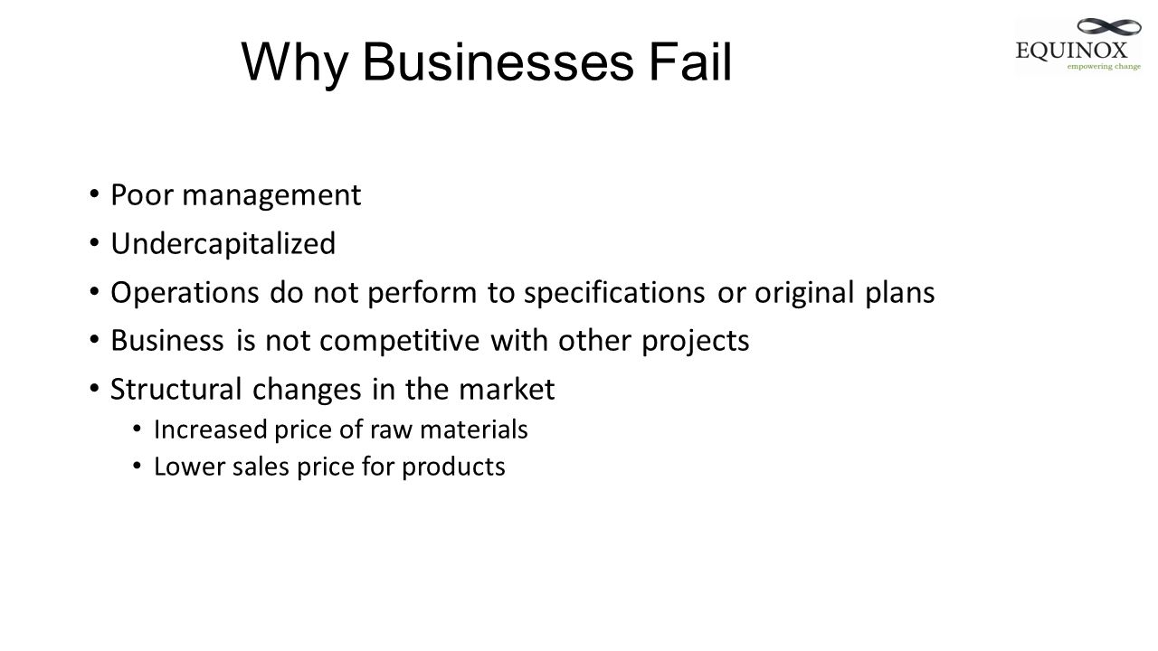 Why Businesses Fail Poor management Undercapitalized Operations do not perform to specifications or original plans Business is not competitive with ot