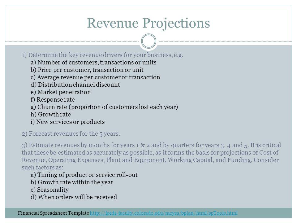 Revenue Projections 1) Determine the key revenue drivers for your business, e.g.