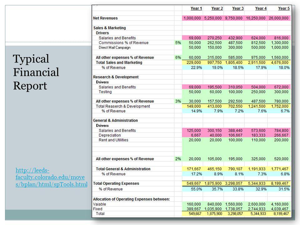 http://leeds- faculty.colorado.edu/moye s/bplan/html/spTools.html Typical Financial Report