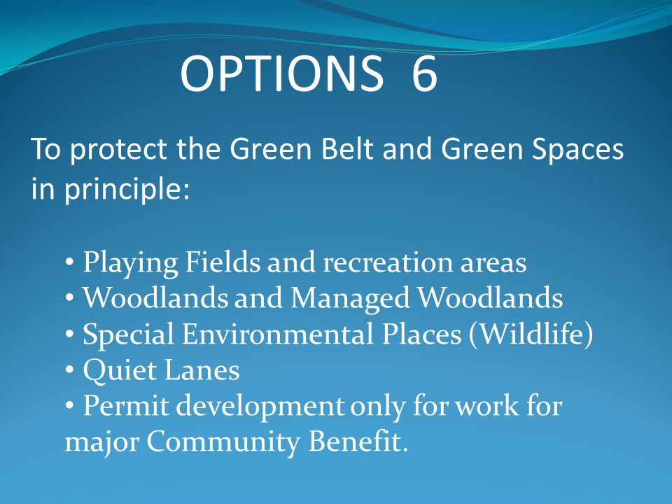 OPTIONS 6 To protect the Green Belt and Green Spaces in principle: Playing Fields and recreation areas Woodlands and Managed Woodlands Special Environmental Places (Wildlife) Quiet Lanes Permit development only for work for major Community Benefit.