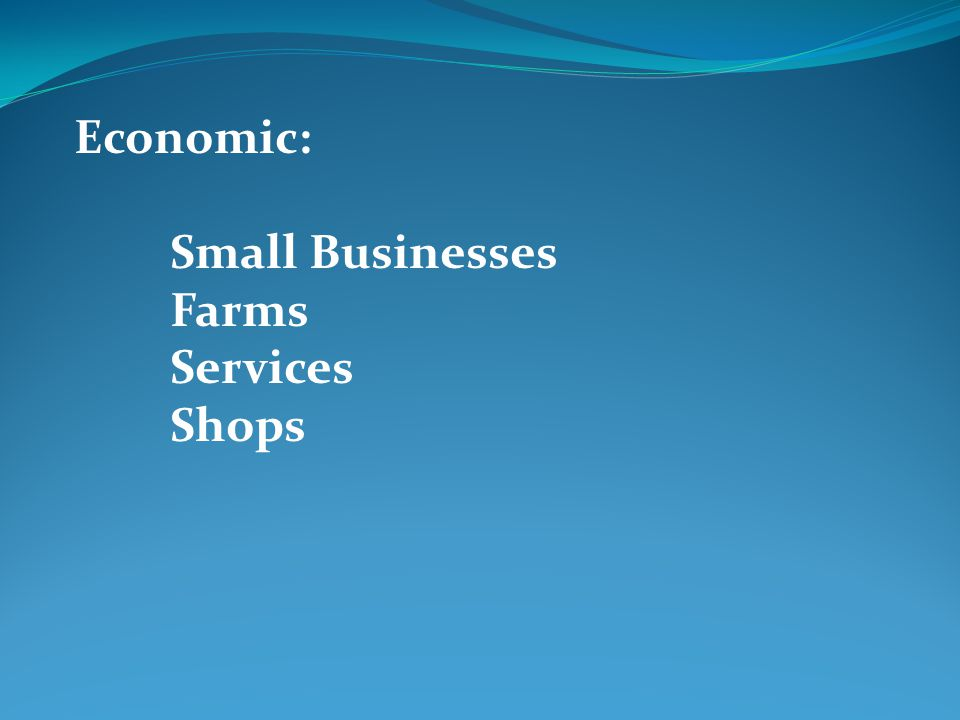 Economic: Small Businesses Farms Services Shops