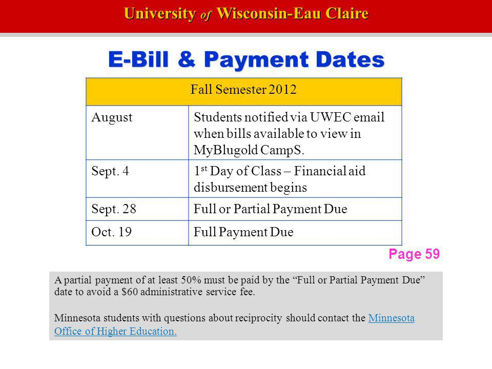 University of Wisconsin-Eau Claire Important Dates Fall Semester 2012 Sept.