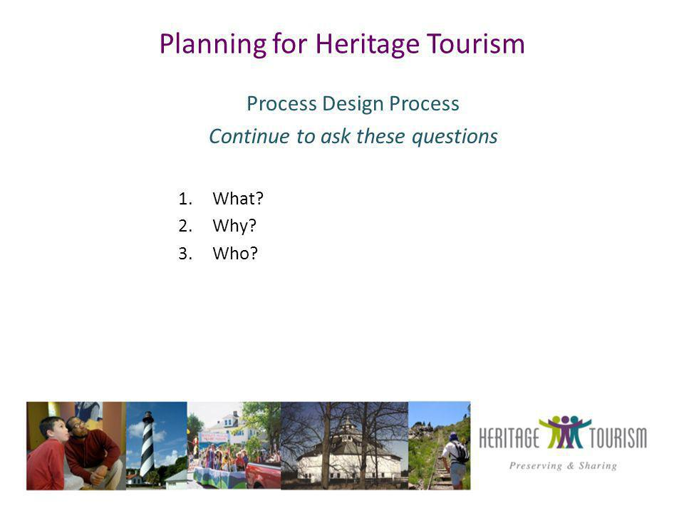Planning for Heritage Tourism Process Design Process Continue to ask these questions 1.What.
