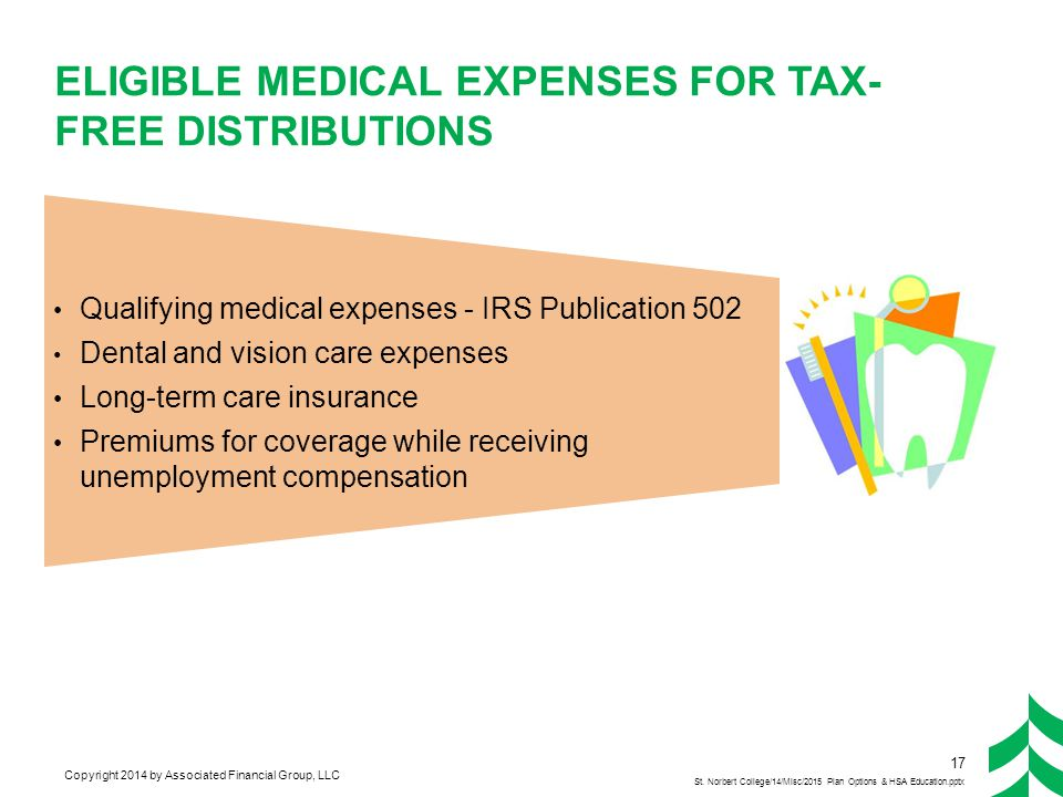Copyright 2014 by Associated Financial Group, LLC ELIGIBLE MEDICAL EXPENSES FOR TAX- FREE DISTRIBUTIONS Qualifying medical expenses - IRS Publication