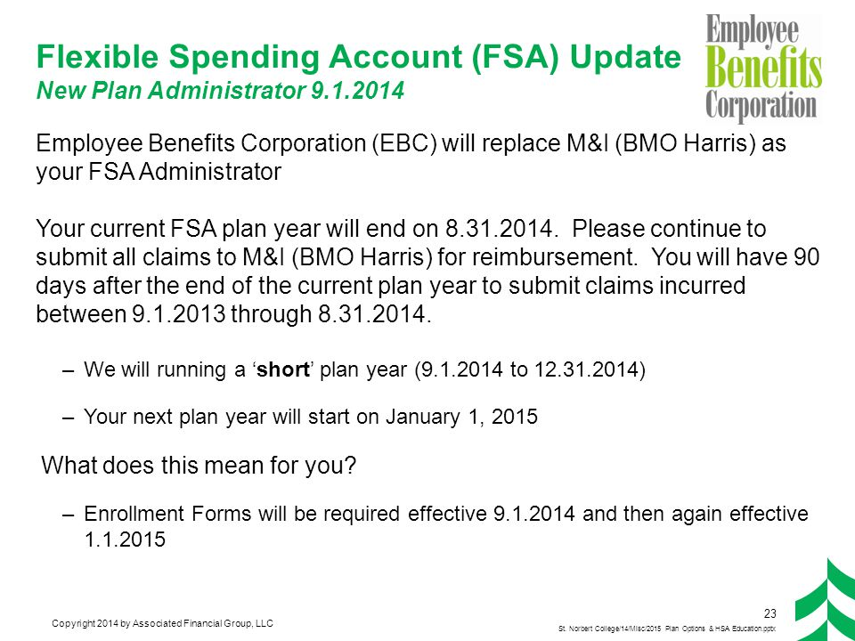 Copyright 2014 by Associated Financial Group, LLC Flexible Spending Account (FSA) Update New Plan Administrator 9.1.2014 Employee Benefits Corporation