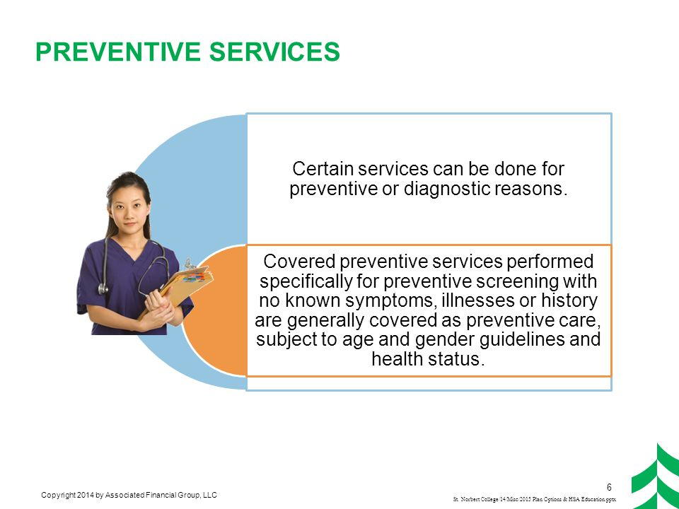 Copyright 2014 by Associated Financial Group, LLC PREVENTIVE SERVICES St. Norbert College/14/Misc/2015 Plan Options & HSA Education.pptx Certain servi