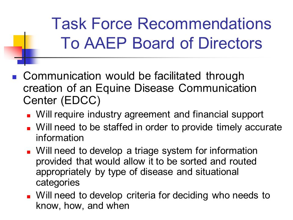 Task Force Recommendations To AAEP Board of Directors Communication would be facilitated through creation of an Equine Disease Communication Center (EDCC) Will require industry agreement and financial support Will need to be staffed in order to provide timely accurate information Will need to develop a triage system for information provided that would allow it to be sorted and routed appropriately by type of disease and situational categories Will need to develop criteria for deciding who needs to know, how, and when