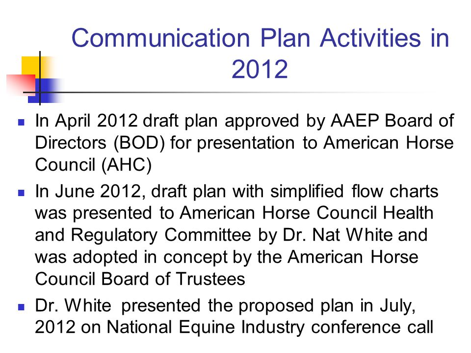 Communication Plan Activities in 2012 In April 2012 draft plan approved by AAEP Board of Directors (BOD) for presentation to American Horse Council (AHC) In June 2012, draft plan with simplified flow charts was presented to American Horse Council Health and Regulatory Committee by Dr.