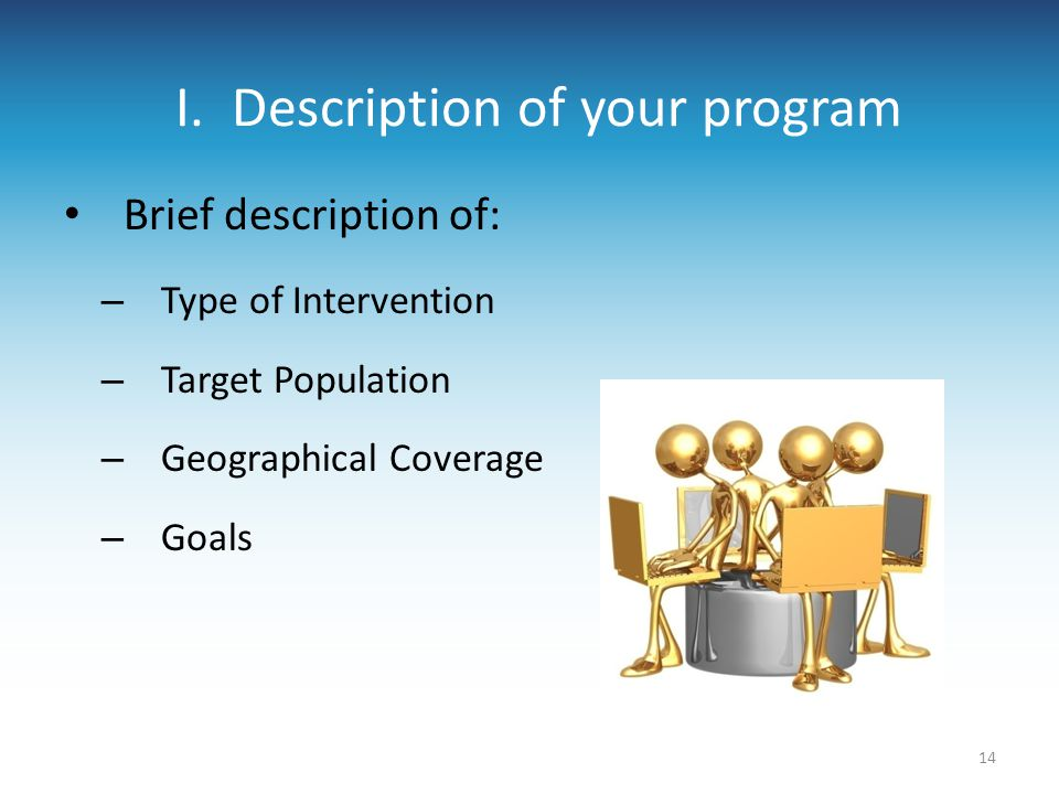 I. Description of your program Brief description of: – Type of Intervention – Target Population – Geographical Coverage – Goals 14