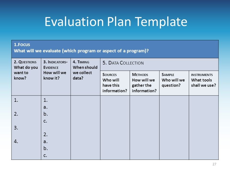 Evaluation Plan Template 1.F OCUS What will we evaluate (which program or aspect of a program)? 2. Q UESTIONS What do you want to know? 3. I NDICATORS