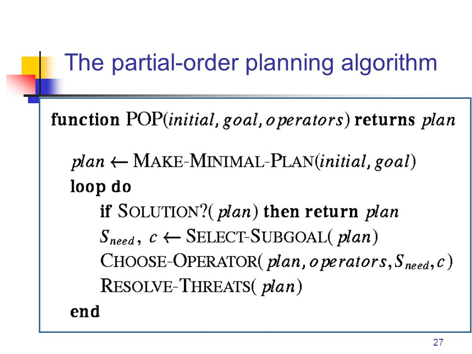 27 The partial-order planning algorithm