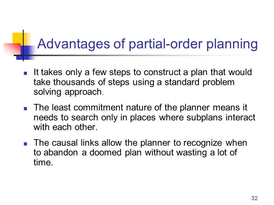 32 Advantages of partial-order planning It takes only a few steps to construct a plan that would take thousands of steps using a standard problem solving approach.