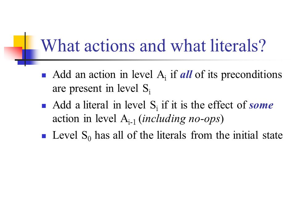 What actions and what literals.