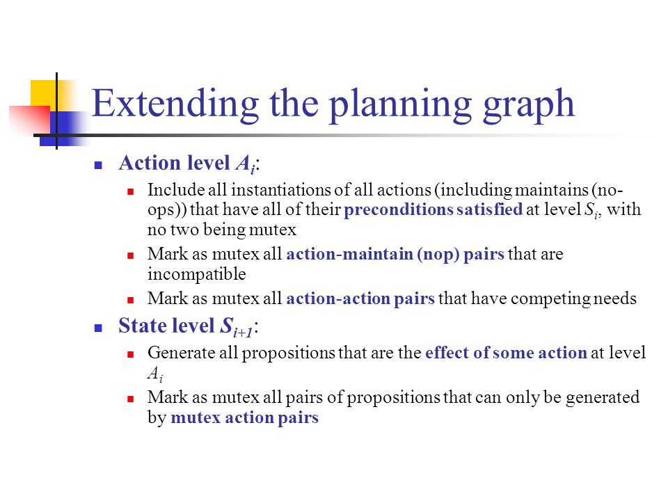 Extending the planning graph Action level A i : Include all instantiations of all actions (including maintains (no- ops)) that have all of their preconditions satisfied at level S i, with no two being mutex Mark as mutex all action-maintain (nop) pairs that are incompatible Mark as mutex all action-action pairs that have competing needs State level S i+1 : Generate all propositions that are the effect of some action at level A i Mark as mutex all pairs of propositions that can only be generated by mutex action pairs