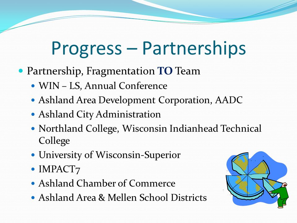 Progress – Partnerships Partnership, Fragmentation TO Team WIN – LS, Annual Conference Ashland Area Development Corporation, AADC Ashland City Administration Northland College, Wisconsin Indianhead Technical College University of Wisconsin-Superior IMPACT7 Ashland Chamber of Commerce Ashland Area & Mellen School Districts