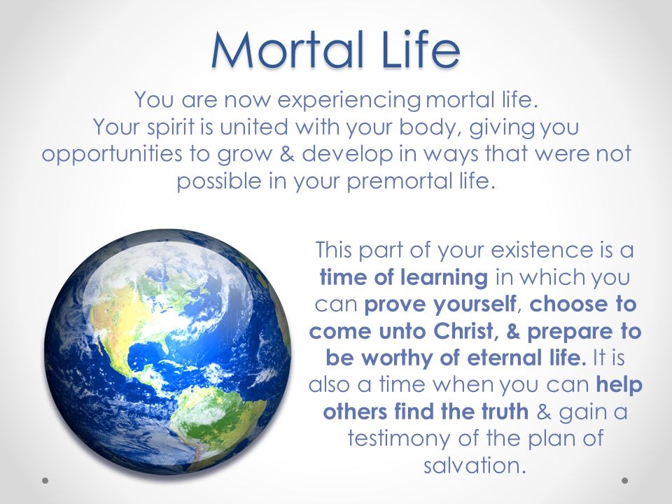 Mortal Life You are now experiencing mortal life.