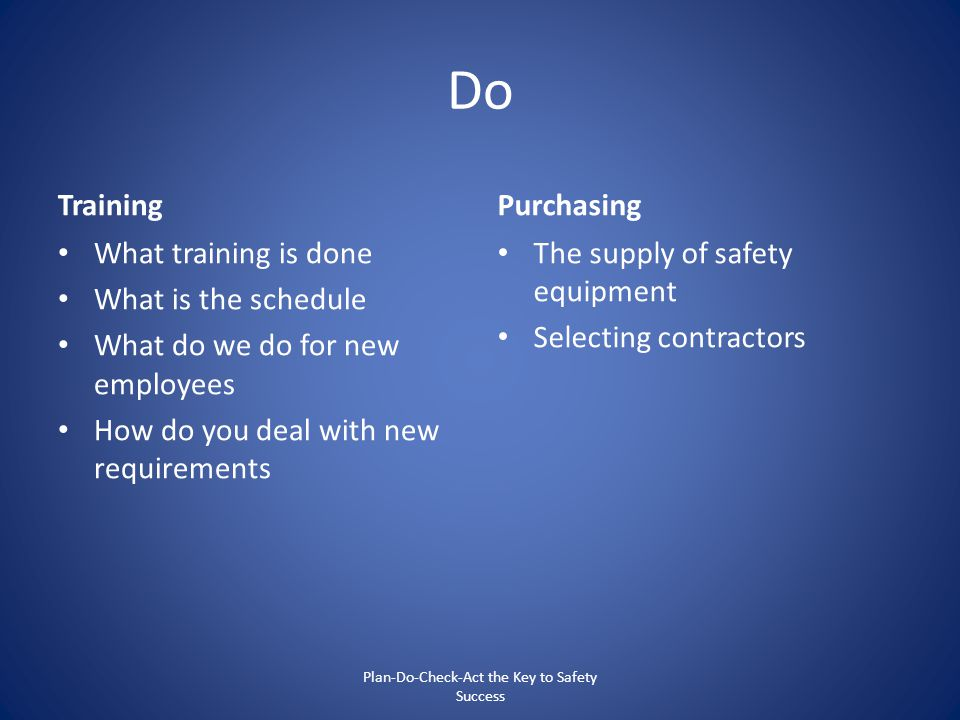 Do Training What training is done What is the schedule What do we do for new employees How do you deal with new requirements Purchasing The supply of
