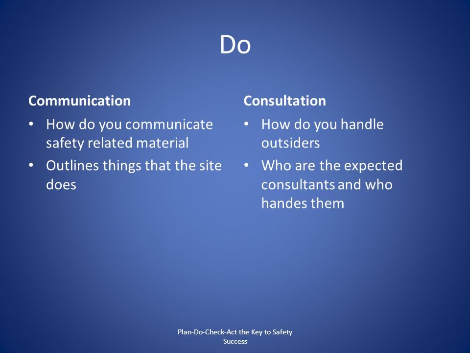 Do Communication How do you communicate safety related material Outlines things that the site does Consultation How do you handle outsiders Who are th