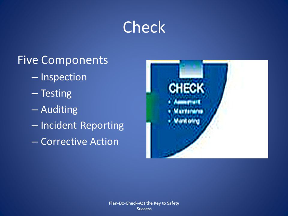 Check Five Components – Inspection – Testing – Auditing – Incident Reporting – Corrective Action Plan-Do-Check-Act the Key to Safety Success