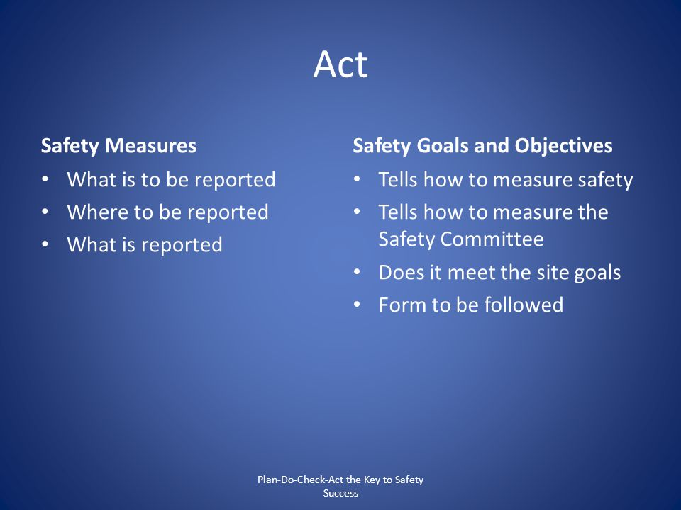 Act Safety Measures What is to be reported Where to be reported What is reported Safety Goals and Objectives Tells how to measure safety Tells how to