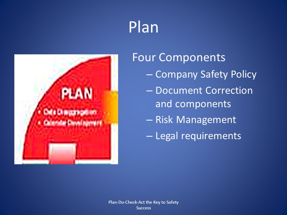 Plan Four Components – Company Safety Policy – Document Correction and components – Risk Management – Legal requirements Plan-Do-Check-Act the Key to