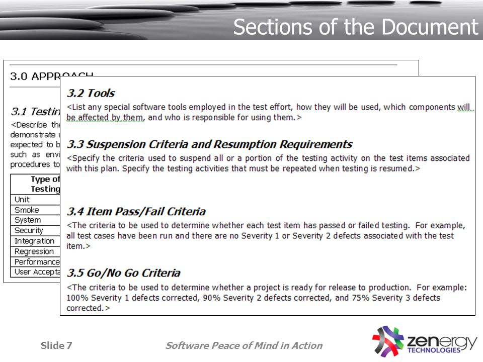 Software Peace of Mind in ActionSlide 7 Sections of the Document