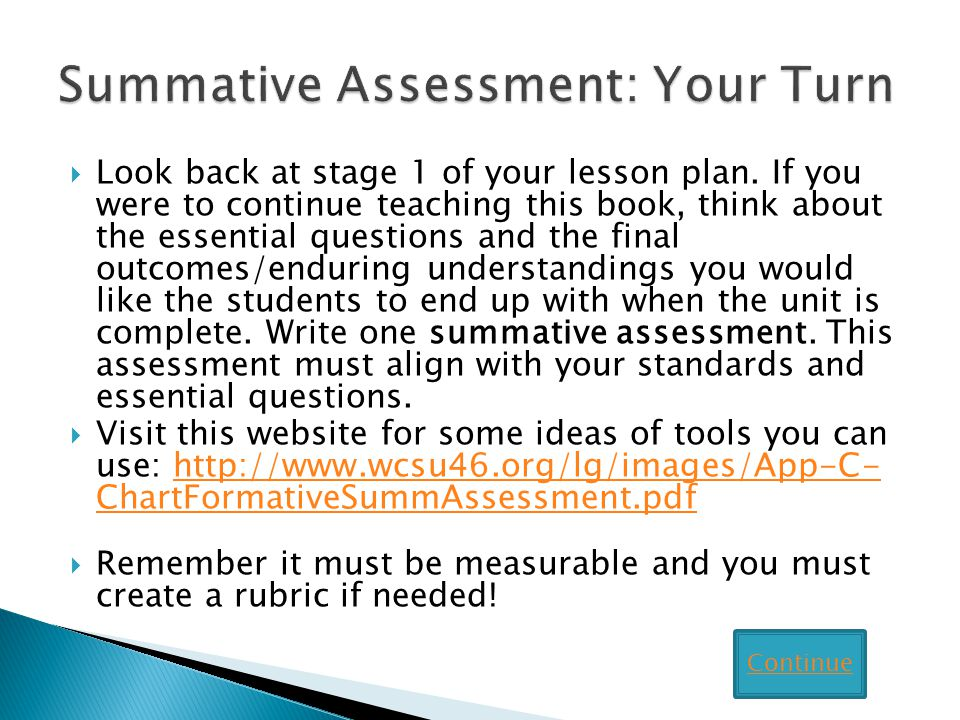 Look back at stage 1 of your lesson plan.