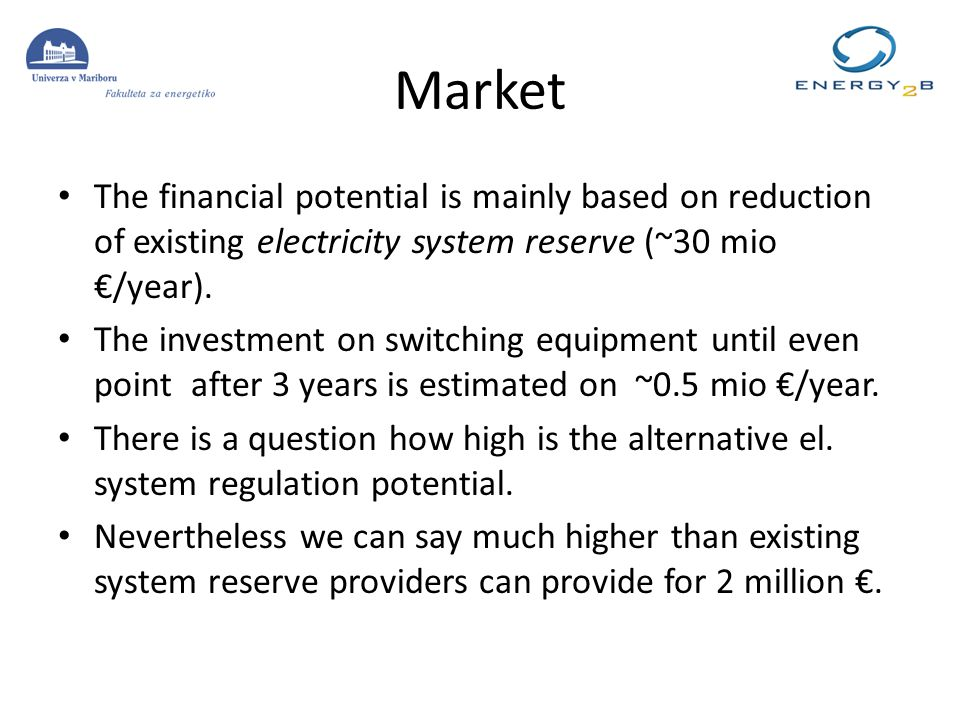 Market The financial potential is mainly based on reduction of existing electricity system reserve (~30 mio /year).