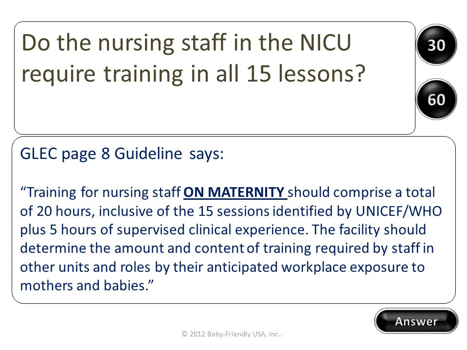 LETS PLAY Name that Guideline © 2012 Baby-Friendly USA, Inc..