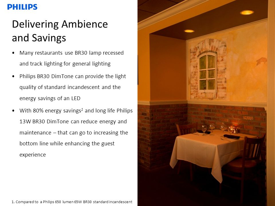 Delivering Ambience and Savings Many restaurants use BR30 lamp recessed and track lighting for general lighting Philips BR30 DimTone can provide the light quality of standard incandescent and the energy savings of an LED With 80% energy savings 1 and long life Philips 13W BR30 DimTone can reduce energy and maintenance – that can go to increasing the bottom line while enhancing the guest experience 1.