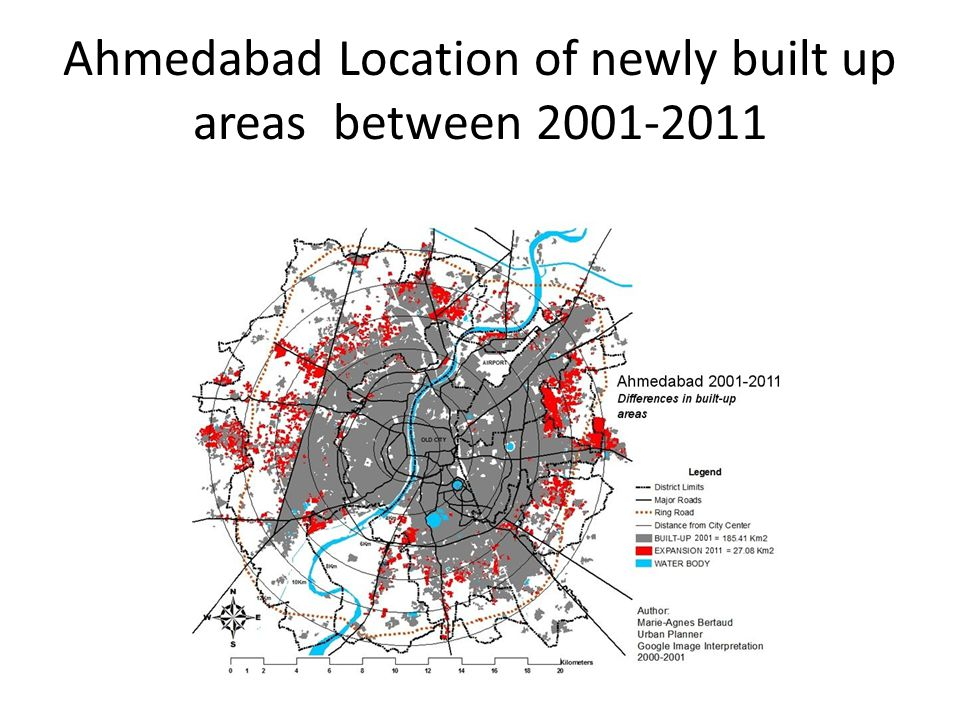 Ahmedabad Location of newly built up areas between 2001-2011
