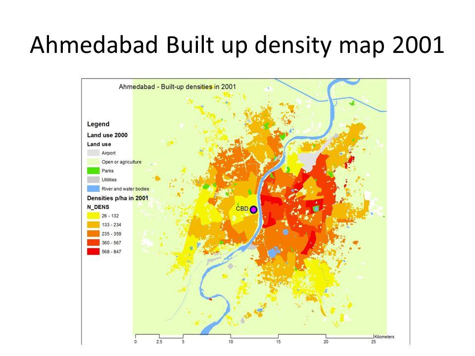 Ahmedabad Built up density map 2001