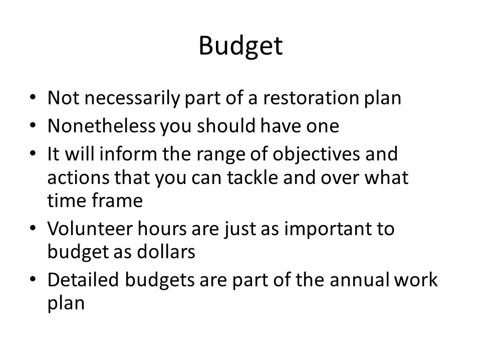 Budget Not necessarily part of a restoration plan Nonetheless you should have one It will inform the range of objectives and actions that you can tackle and over what time frame Volunteer hours are just as important to budget as dollars Detailed budgets are part of the annual work plan