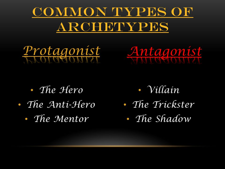 Villain The Trickster The Shadow The Hero The Anti-Hero The Mentor COMMON TYPES OF ARCHETYPES