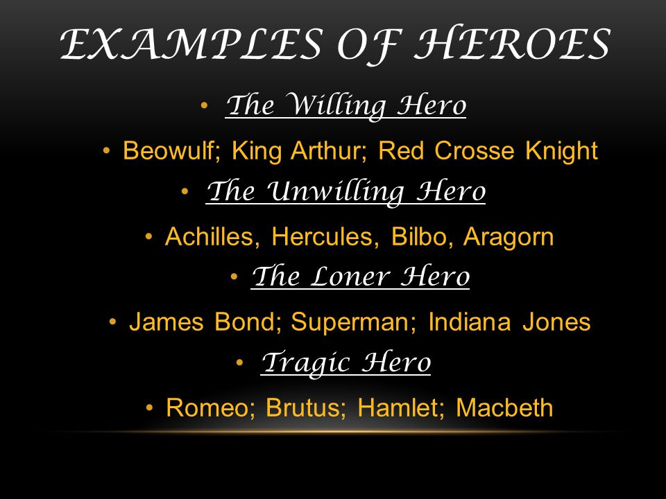 EXAMPLES OF HEROES The Willing Hero Beowulf; King Arthur; Red Crosse Knight The Unwilling Hero Achilles, Hercules, Bilbo, Aragorn The Loner Hero James
