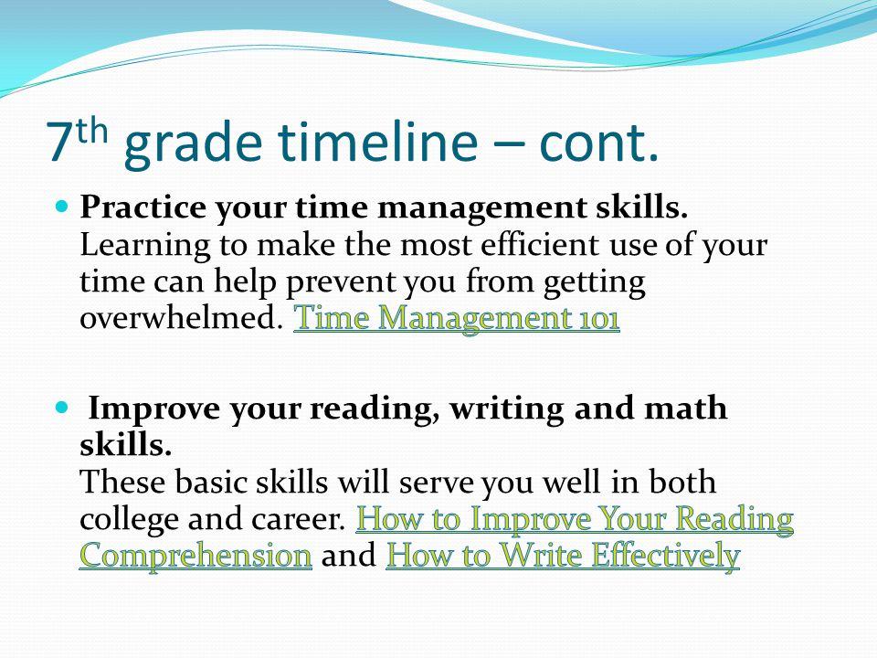 7 th grade timeline – cont.